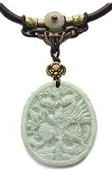 Elegant Carved Flying Horse Kilin Jade Feng Shui Amulet Necklace - Fortune Fashion Jewelry