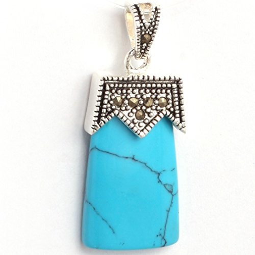 14x34mm Rectangle Blue Turquoise BeadsMarcasite Silver Base Pendant