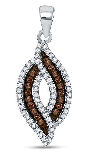 Marquise White Charms (10K White Gold Prong Set Chocolate Brown & White Marquise Diamond Pendant Charm (.30 cttw.))
