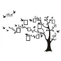 Rainbow Fox, grande cornice nera adesiva da parete, Art Wall, a forma di albero con rami ed uccellini, 8 cornici portafoto incluse, frase adesiva sulla famiglia, misura 180 x 250 cm, colore nero; per salone, camera dei bambini