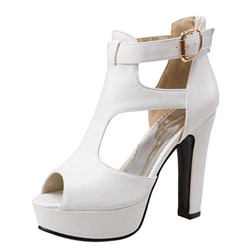 Alla Scarpe Donna A Cinturino Plateau Blocco Sandali Toe Tacco Alto Peep Tacco TAOFFEN Caviglia Moda bianco 6qd77