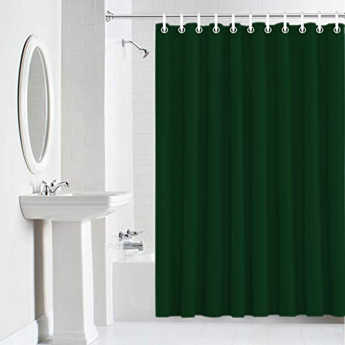 Baby Accessories Green Toile - Shower Curtain Waterproof Home Decor,Durable Cloth Fabric Decorative Bathroom Accessories with Hooks,Solid Color Dark Green 60 x 72 Inches