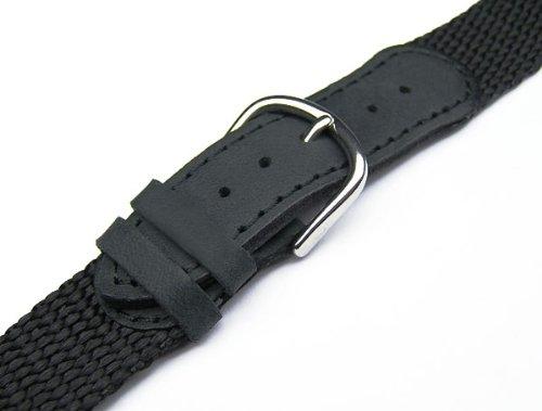 17mm TIMEWHEEL® Black Leather & Nylon Watch Band Fits Victorinox Swiss Army Original Series Small 24240, 24241 & 24379