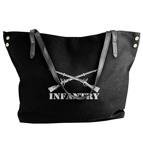 Insignia Folder - Army Infantry Branch Insignia Military Women's Canvas Hobo Handbags Shoulder Bag Tote Bag