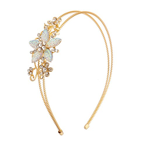 (Lux Accessories Gold Tone Stone Floral Crystal Flower Wire Headband)