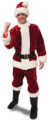 Plush Santa Claus Suit Adult Costumes (Rubie's Crimson Regency Plush Santa Suit,Red/White, Standard)