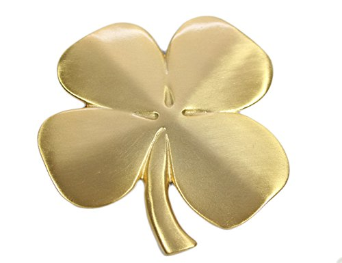 Robert Emmet Co. Lucky 4 Leaf Clover Ireland Wall Hanging Gold Lucky Shamrock Plated Pewter Irish Blessing Wall -