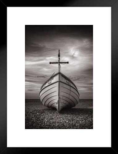 Pyramid America Rod Edwards in God We Trust Boat with Cross Dry Lakebed Inspirational Thick Cardstock Matted Framed Poster 20x26 inch