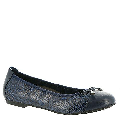 Vionic Womens Minna Ballet Flat, Navy Snake, 11 B(M) (Navy Snake Leather Footwear)