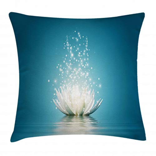 Ambesonne Lotus Throw Pillow Cushion Cover, Magic Flower Pattern with Water Design Print, Decorative Square Accent Pillow Case, 18 X 18 Inches, Petrol Blue Coconut