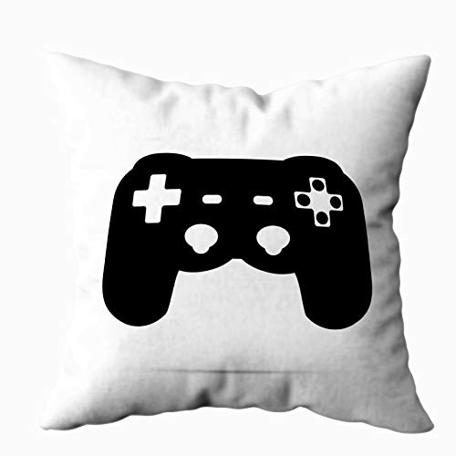 TOMKEY Square Pillow Cases, Hidden Zippered 18X18Inch Video Games Controller Icon Decorative Throw Cotton Pillow Case Cushion Cover for Home Decor