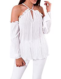 Tops for Womens, Autumn Sexy Off Shoulder Lace Henley Shirts Long Sleeve Neck-Holder
