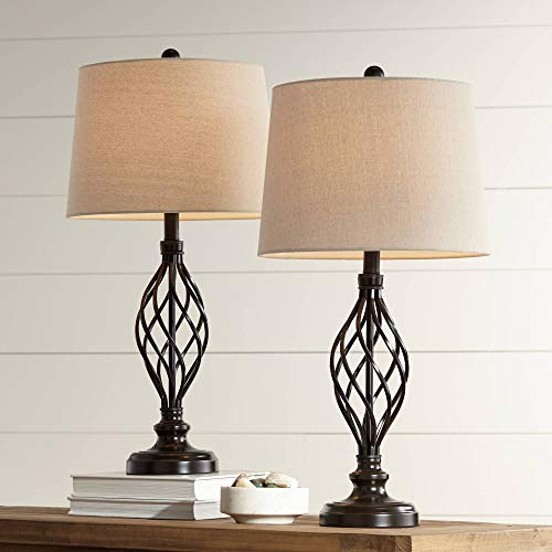 (Annie Traditional Table Lamps Set of 2 Bronze Iron Scroll Tapered Cream Drum Shade for Living Room Family Bedroom - Franklin Iron Works)