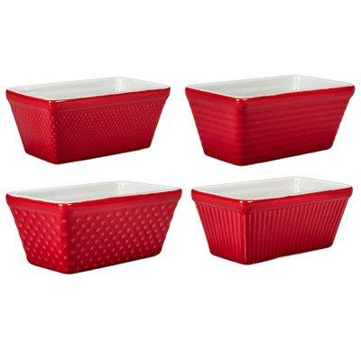 4 Piece Mini Loaf Pan Set [Set of 4] Color Red