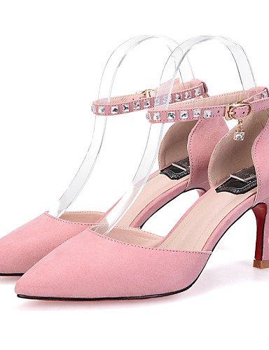 LFNLYX Zapatos de mujer-Tacón Stiletto-Tacones / Puntiagudos / Punta Cerrada-Sandalias-Vestido-Ante-Negro / Amarillo / Rosa / Gris Gray