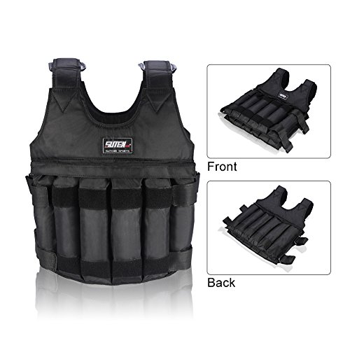 Yosoo Max Loading 50KG Adjustable Weighted Vest Workout Weight Jacket Exercise Boxing Training Fitness (NOT include weights) by Yosoo