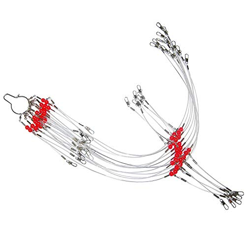Shaddock Fishing 12pcs/bags White Nylon Fishing Wire Leader Rigs Trace with Swivels,Snaps,Beads, Arms Fishing Lures Tackle Leader Rigging (21.7inch wirh 2 Arms) ()