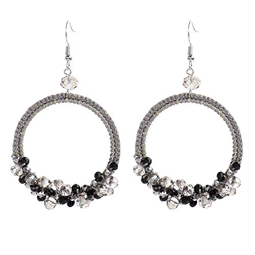 - Women Boho Crystal Beads Hoop Dangle Drop Statement Earrings (black)