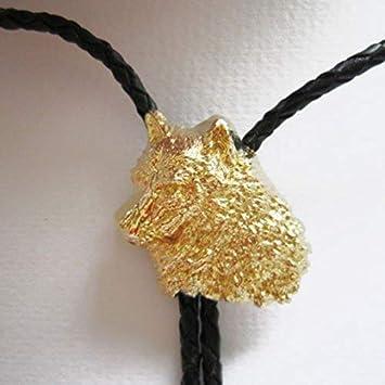 Corbata de bolo Cabeza de lobo, Wolf con Chapado en oro verdadero ...