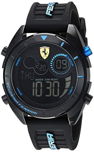 Ferrari Men's Forza Quartz Watch with Silicone Strap, Black, 22 (Model: 0830550)