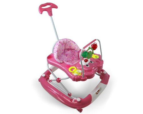 Best Safety 3 in 1 Walker, Rocker, Parent push handle, and emergency stair stopper (Bear) (Pink)