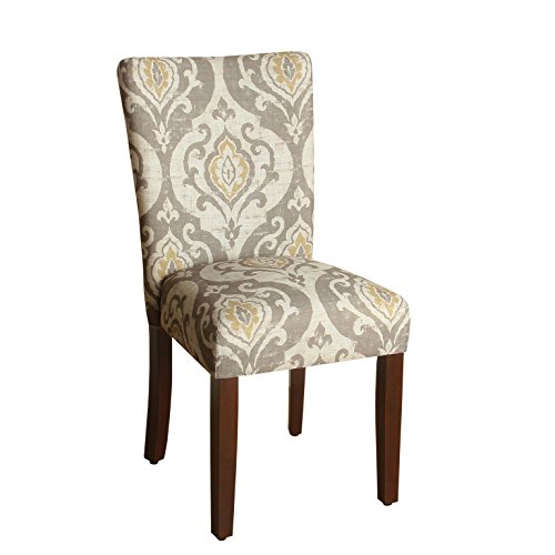 (HomePop Parsons Classic Upholstered Accent Dining Chair, Set of 2, Taupe and Cream Medallion)