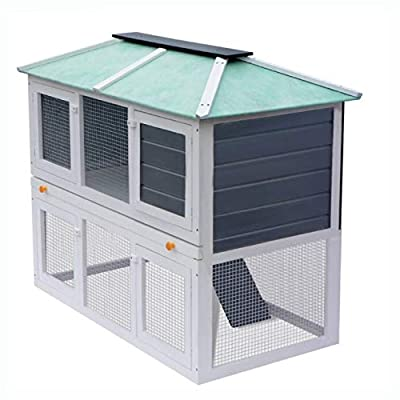 K&A Company Small Animal Habitat & Cage, Animal Rabbit Cage Double Floor Wood