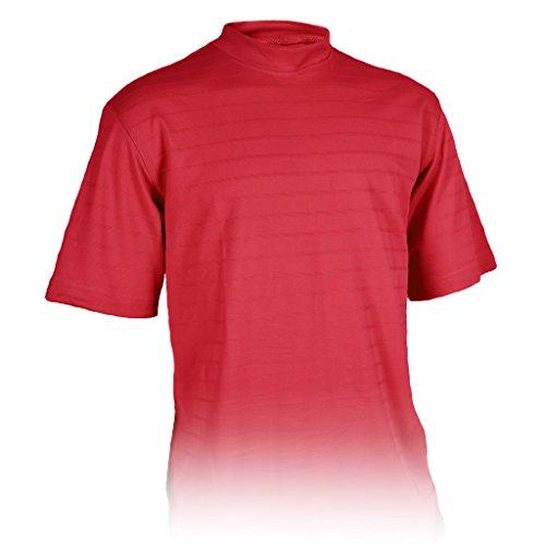 (Monterey Club Mens Dry Swing Tonal Title Plaid Texture Mock Neck Shirt #3292 (Maroon, 2X-Large))
