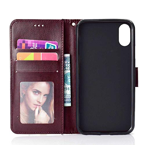 Case iPhone XR, Bear Village PU Leather Embossed Design Case with Card Holder and ID Slot, Wallet Flip Stand Cover for Apple iPhone XR (#7 Brown) by Bear Village (Image #3)