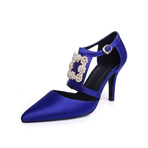 Amoonyfashion Mujeres Elastic Fabric Hebilla Sólida Acentuada Cerrada Toe High-heels Pumps-Zapatos Blue