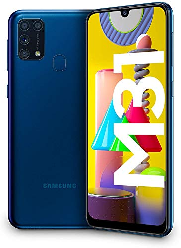Samsung Galaxy M31 – Smartphone Dual SIM, Pantalla de 6.4″ sAMOLED FHD+, Cámara 64 MP, 6 GB RAM, 64 GB ROM Ampliables, Batería 6000 mAh, Android, Versión Española, Color Azul
