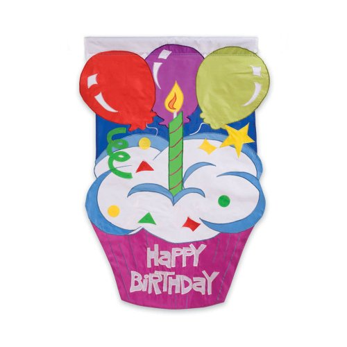 Evergreen Happy Birthday Cupcake Double-Sided Appliqué Garden Flag - 12.5