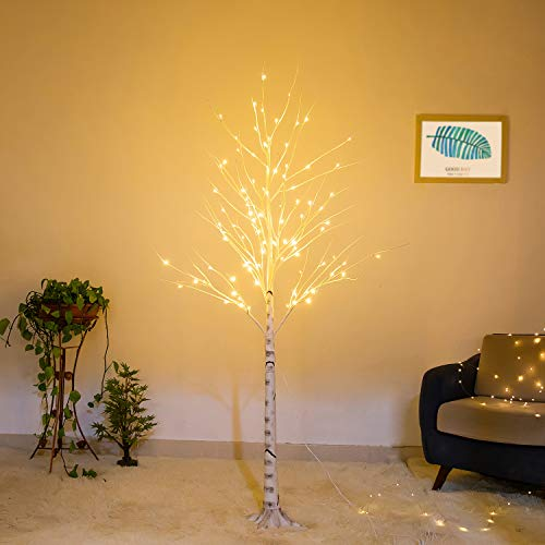 Bolylight LED Birch Tree 6ft 96L LED Christmas Decorations Lighted Tree Decor for Bedroom/Party/Wedding/Office/Home Outdoor and Indoor Use Warm White