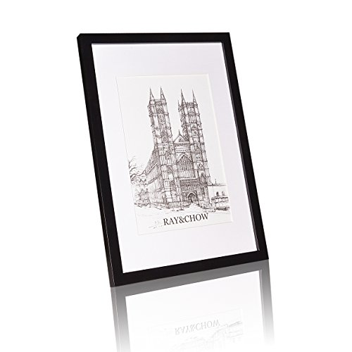 Ray & Chow Black 12x16 inch Picture Frame - Solid Wood - Glass Window - with Picture Mat for 8x12 inch Photo - Hanging Hardware Included ()