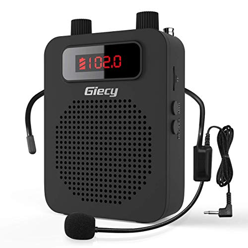 Giecy Voice Amplifier Portable 15W Rechargeable Wired Headset Microphone Personal Voice Amplifiers for Teachers Singing Coaches Training Presentation Tour Guide