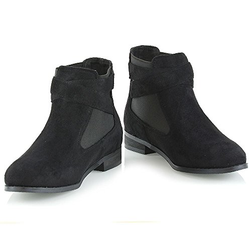 On Buckle Ankle Heel Womens Pull Pixie Black Chelsea Elastic Low Faux Suede Ladies Block Boots qwRfEn