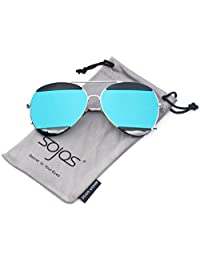 SojoS Metal Frame Double Color Mirror Aviator Sunglasses for Men and Women SJ1032