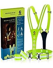 LUMEFIT High Visibility Vest Reflecterende hardloopvesten met armbanden High-Vis voor veiligheid van kinderen, dames, heren, kinderen, verstelbare uitrusting, 8 heldere LED's voor dag en nacht auto, fiets, fietsen enz