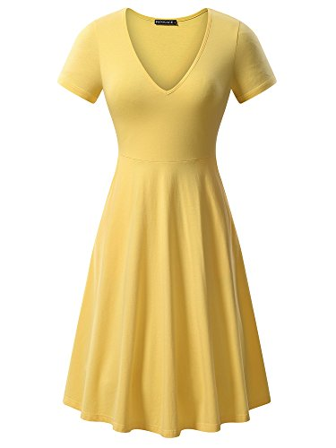FENSACE Womens Fit Flare Knee Length Yellow Dress Belle Costume -