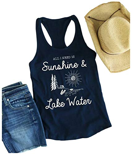 Women All I Need is Sunshine Lake Water Workout Tank Funny Racerback Tank Top Shirt Vest Size L (Blue)]()
