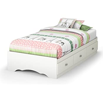 tiara collection twin bed with storage platform bed with 3 drawers pure white by south shore - White Twin Bed Frame