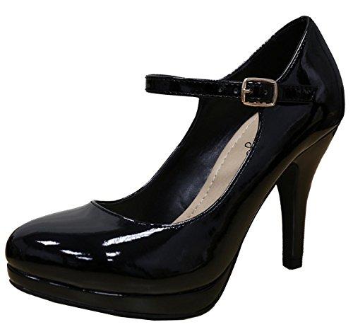 Cambridge Select Women's Mary Jane Dress Pump High Heel,9 B(M) US,Black Anli Patent (1/2 Inch High Heel Platform)