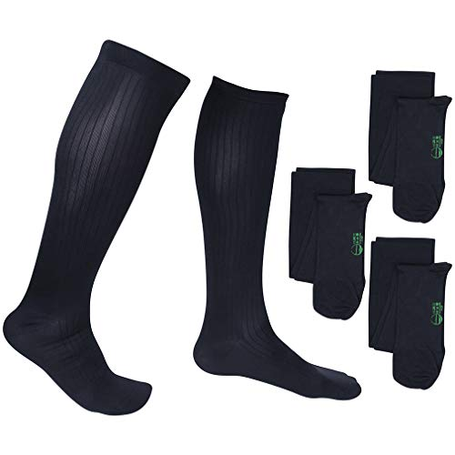 3 Pair EvoNation Men's USA Made Graduated Compression Socks 20-30 mmHg Firm Pressure Medical Quality Knee High Orthopedic Support Stockings Hose - Best Comfort, Circulation, Travel (Large, Navy Blue) ()