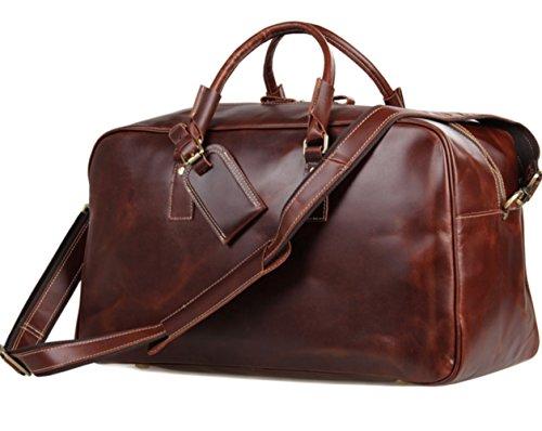 YAAGLE Echtes Leder Reisetasche Herren Tasche erstklassig Rindleder Tasche Reisegepäck weinrot