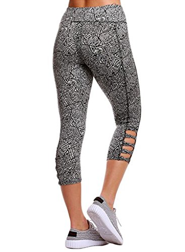 Aleumdr Womens Pattern Printed Strappy Cut Out High Waist Yoga Tight Shorts Pants Capri Cropped Leggings Plus 2XL Size Multicoloured