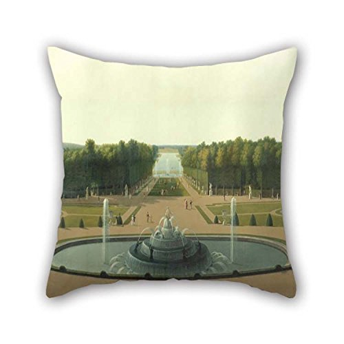 - 18 X 18 Inches / 45 by 45 cm Oil Painting John Vanderlyn - Panoramic View of The Palace and Gardens of Versailles Throw Pillow Case Two Sides Ornament and Gift to Teens Boys Saloon Teens Girls Pub