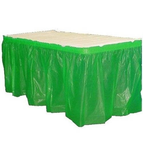 Exquisite Solid Color 14 Ft. Plastic Tablecloth Skirt, Disposable Plastic Tableskirts - Emerald - 6 - Emerald Store