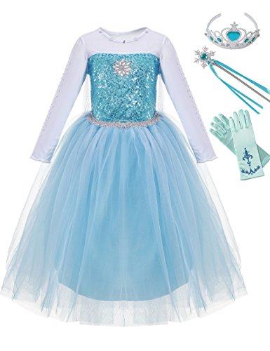 MUABABY Girls Snow Queen Elsa Sparkle Sequin Princess