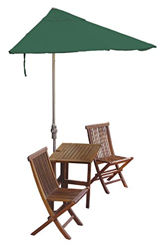 Blue Star Group Terrace Mates Villa Standard Table Set w/ 9'-Wide OFF-THE-WALL BRELLA - Green SolarVista Canopy 9' Green Solarvista Set
