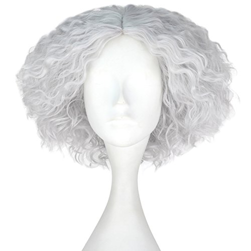 iCos Synthetic Short Kinky Curly Hair Men Boy Center Party Cosplay Costume Wig Halloween Party (Silver Grey)